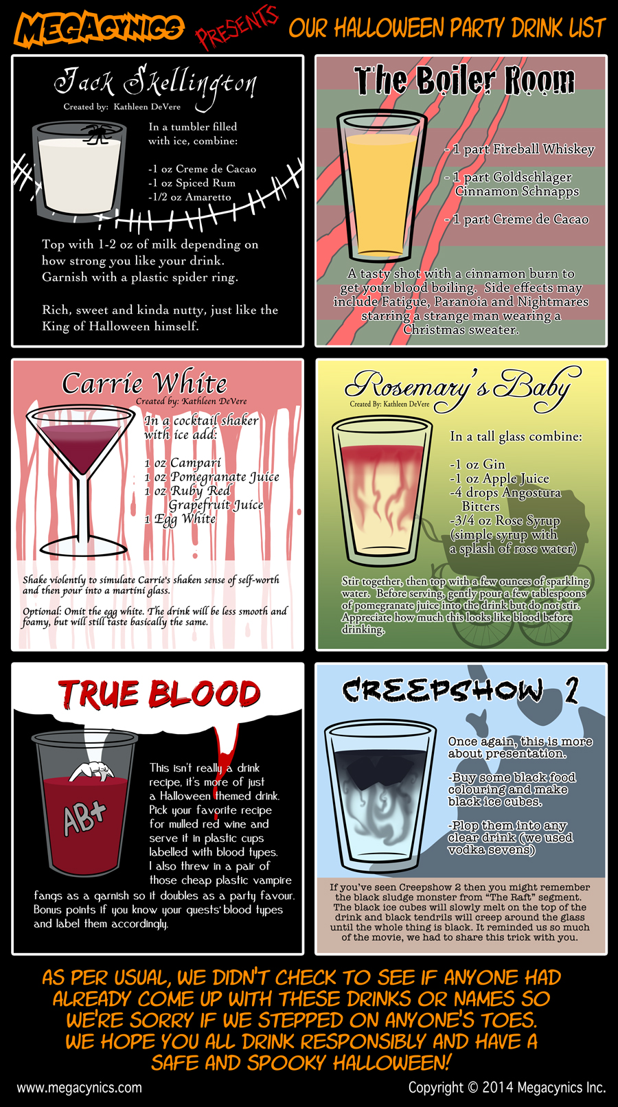 MegaCynics: Halloween Drink List (Oct 31, 2014)
